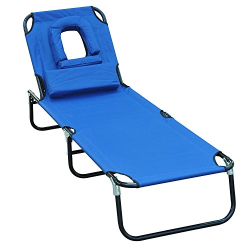 Outsunny - Tumbona inclinable de acero color azul plegable con almohada para masaje y leer