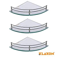 Klaxon offers this unique combination of glass corner 9 x 9 inch set of 3 pieces. Fittings will give good quality strength and shine. Easy to install. Durable, convenient and unique design product.