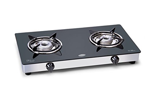 Glen Glass 2 Burner Cooktop, Black/Silver  available at amazon for Rs.2695