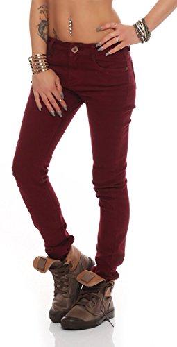 10774 Fashion4Young Damen Sexy Jeans Röhrenhose pants Hose Damenjeans Weinrot
