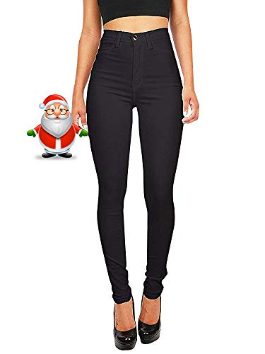Hooleeger Damen Stretch High Waist Jeans Regular Fit Basic Jeanshose (M, Schwarz) - Schlanker Farbe Denim Capri