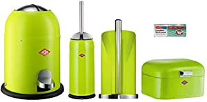 Wesco 4er Bad-Set limegreen mit 40 Müllbeutel, Single Master 9-Liter-Mülleimer + Toilettenbürste + Rollenhalter