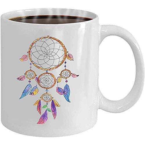 Taza - Taza de café - Regalos- 11oz Taza de té blanco atrapasueños colorido nativo americano tradicional