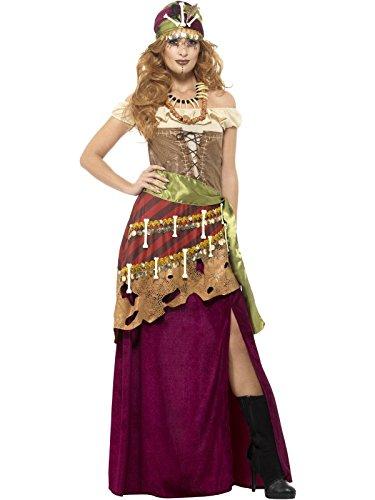 Smiffys, Damen Deluxe Voodoo Priesterin Kostüm, Kleid, Schärpe, Hut und Kette, Größe: 44-46, 48014