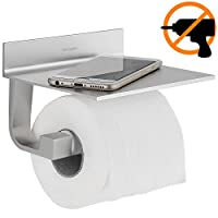 Wangel Toilet Roll Holder Without Drilling, Patented Glue + Self-Adhesive, Aluminum, Matte Finish (Upgraded Version)
