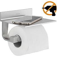 Wangel Porta rotolo Carta Igienica, Colla Brevettata + Autoadesivo 3M, Alluminio, Finitura Opaca …