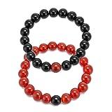 Rouge et Noir Agate Perles de 10mm Distance Ensemble de bracelets élastique Couple Bracelets Bijoux