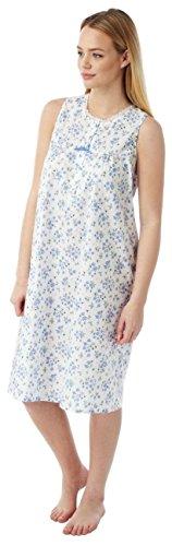 Marlon, MN16, camicia da notte femminile, senza maniche, di cotone e poliestere Blue Sprig