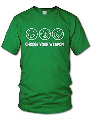shirtloge - CHOOSE YOUR WEAPON! STEIN, SCHERE, PAPIER - KULT - Fun T-Shirt - in verschiedenen Farben & Größe Grün