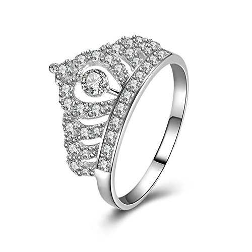 (Custom Ringe)Adisaer Ring Silber 925 Damen Cluster Kristall White Zirkonia Krone Verlobungsring Größe 62 (19.7) Kostenlos Gravur