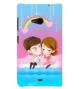 Printvisa Animated Romantic Couple With A Rainbow Background Back Case Cover for Nokia Lumia 535::Microsoft Lumia 535