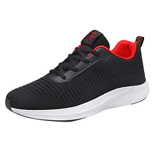 Skxinn Unisex Fitnessschuhe Leicht Schnürschuhe Atmungsaktive Casual Herren Sneakers Mode Turnschuhe Sportliche Tennis-Laufschuhe Wanderschuhe für Damen Gr 35-48(Rot,46 EU) (Coole Ideen Für Kostüm Selbstgemacht)