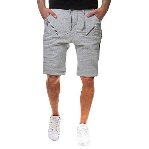 Aiserkly Herren Reißverschlusstasche Baumwolle Multi-Pocket Cargo Shorts Freizeit-Shorts Kurze Hose Jogginghose Sweatpants (Mit Deutsch-shorts Hosenträger)