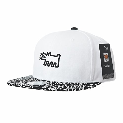 WITHMOONS Baseballmütze Mützen Caps Snapback Hat Keith Haring Pop Art Print Dog Embroidery Baseball Cap CR2953 (White) (Gym Yankee Bag)