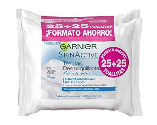 Garnier Skinactive - Toallitas Desmaquillantes Refrescantes, Pack 25, Total 50 Toallitas