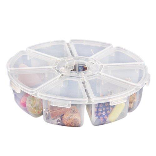 8 Fächer Plastik Aufbewahrungsbox Plastik Schmuckschatulle Schmuckkästchen Rund (Aufbewahrungsboxen Runde)