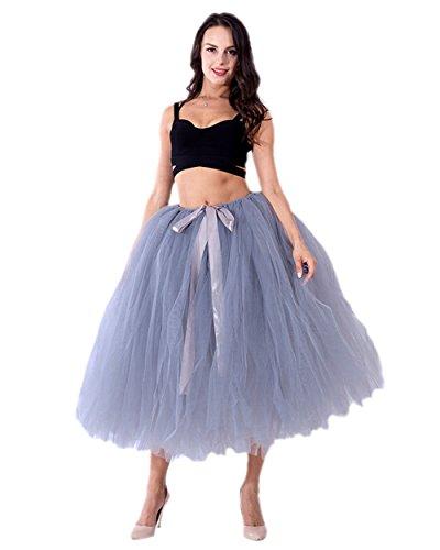Honeystore Damen's Tüllrock Maxirock Lang Tüll Rock Tutu Hochzeit und Party Prinzessin Ballettrock One Size (Diy Anna Und Kostüme Elsa)