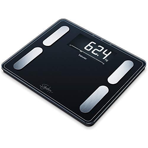Beurer BF 410 black Diagnosewaage Signature Line, präzise Körperanalyse für bis zu 10 Personen, mit extra großem Invers-LCD-Display, Tragkraft bis 200 kg