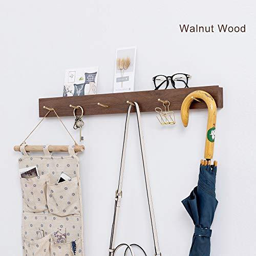 Inman Home - Perchero rústico de pared flotante de roble macizo percha de madera disponible 3/5/6 ganchos resistente ropa sombrero toallero soporte 5 Hooks Walnut Wood