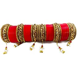 Bachatwala Red Design Golden Stone With Glass Cut Chura Bridal Bangle Set For Women - Size 2.4