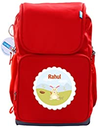 UniQBees Personalised School Bag With Name (Active Kids Medium School Backpack-Red-Bunny)
