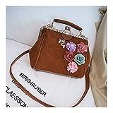 XUZISHAN Women's Bag Flower Quadrat Handtasche Soft Milchglas Leder Messenger Bag Fashion Einfachheit Pearl Jacke Crossbody Schultertasche, EIN