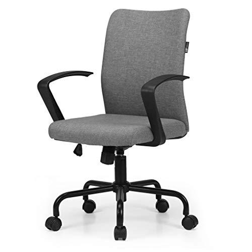 Hbada Kleiner Bürostuhl Drehstuhl Schreibtischstuhl Konferenzstuhl Besucherstuhl platzsparender Stuhl leicht Leinen Höhenverstellung Wippmechanik Schwarz