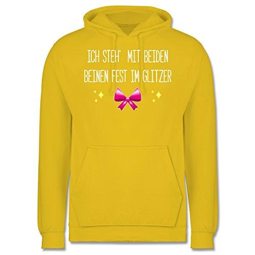 Statement Shirts - Ich steh' mit beiden Beinen fest im Glitzer - Männer Premium Kapuzenpullover / Hoodie Gelb