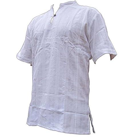 PANASIAM Fisherman Hemd, aus 100% echter freshrunk Baumwolle, weiss,
