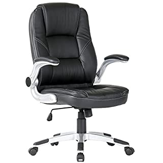 Anladia Standard Office Chair with High Back Large Seat and Tilt Function Executive Swivel Computer Chair PU Leather Black 2088