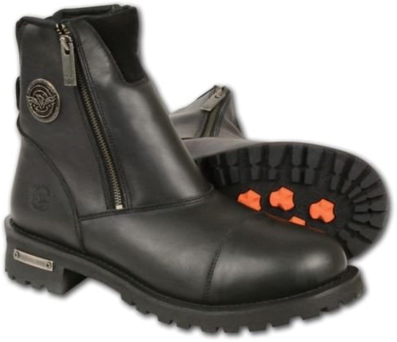 Botas de hombre para moto: Botas negras de cuero puro con doble cremallera (talla 47 Normal)
