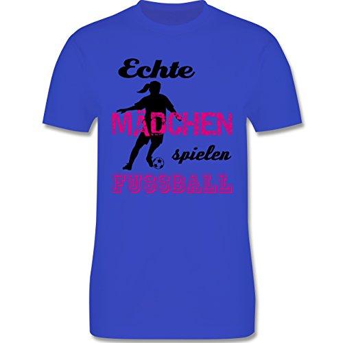 Fußball - Echte Mädchen spielen Fußball - Schwarz - Herren Premium T-Shirt Royalblau