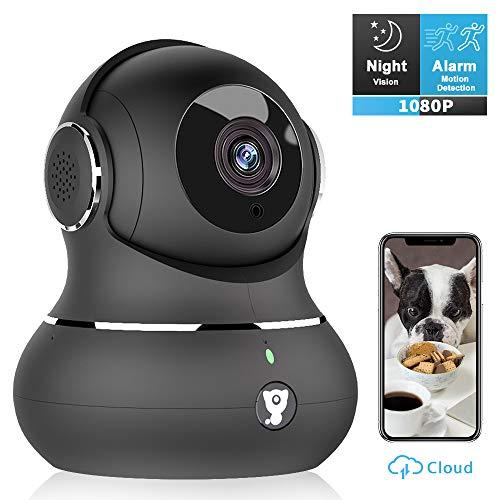 Überwachungskamera Nachtsicht mit Alexa, Littlelf WLAN IP Kamera 1080P HD WiFi Kamera mit 360°Schwenkbare Baby Monitor, Zwei-Wege-Audio, Bewegungserkennung