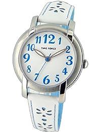Reloj TIME FORCE de niña/señora. Acero. Correa de piel blanca Flores azules. TF-4123B03