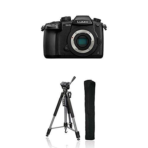 Panasonic Lumix DC-GH5EG-K Systemkamera (20 Megapixel, DUAL IS Bildstabilisator, 4K60p Videoaufname, 4K & 6K Serienbilder, Hybrid Kontrast AF, wetterfestes Magnesiumgehäuse) Gehäuse Schwarz + Hama Fotostativ Action 165 3D