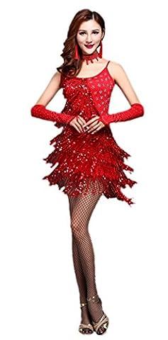 Honeystore 2016 Neuheiten Damen Quasten Swing Rhythmus Jazz Latein Dance Kleid mit Pailletten Rot M (Designer Bauchtanz Kostüme)
