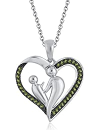Silvernshine 18K White Gold Over Peridot Sim Diamond Accent Mother & Child Heart Pendant Necklace