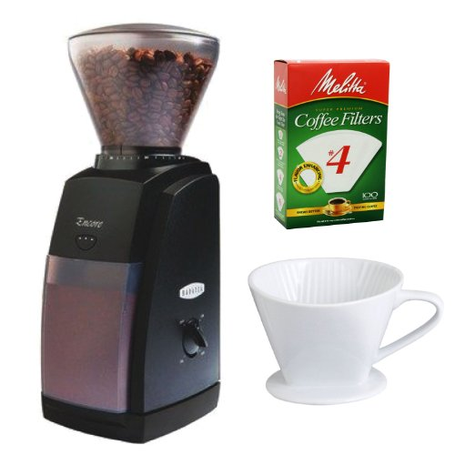 Baratza Encore Conical Burr Coffee Grinder + Porcelain No. 4 Coffee Filter Cone + Paper Filters