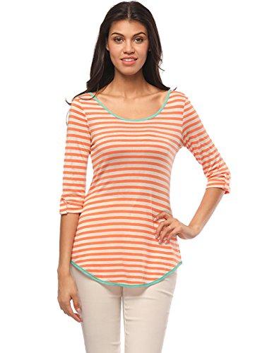 CAR-TOBBY Frauen-T-Shirts mit Gestreiften Ärmeln Zurück Criss Cross Bowknot Asymmetrische Tunika-Top Orange M (Stripe Roll Shirt Sleeve)