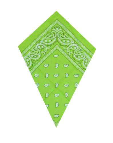 Bandana Neon Grün Paisley Kopf / Hals-Schal (Green) (Blue Paisley Bandanas)