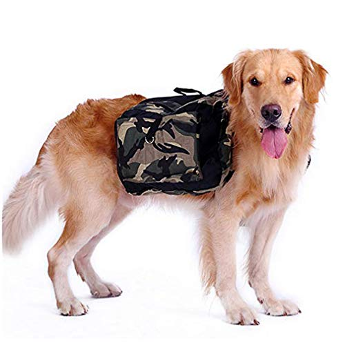 Hehong Haustier Satteltasche Medium und Large Dog Einstellbare Harness Carrier Rucksack Outdoor-Reisen Training Wandern M/L