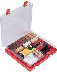 CON:P Holz-Reparatur-Set 17-teilig - 11 unterschiedliche Farbtöne - Inkl. Wachsschmelzer, Hobel & Schleifschwamm - Geeignet für Holzoberflächen aller Art / Reparatur-Kit für Parkett & Laminat / B27691