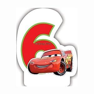 Unique Party Partido Ênico de neón Disney Cars Sexto cumpleaños Vela