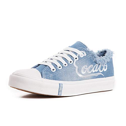 Scarpe di Tela delle Donne Primavera Estate Moda Denim Graffiti Low Top Traspirante Lace Up Scarpe Casual Sneakers Moda Femminile