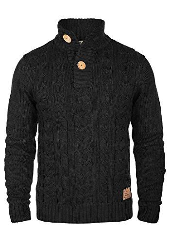 !Solid Ponce Herren Winter Pullover Strickpullover Troyer Grobstrick mit Zopfstrickmuster und Knopfleiste, Größe:M, Farbe:Black (9000)