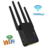 CAPTIANKN WiFi Signal Booster Repeater Wireless, 2.4 und 5GHz Dual-Band WiFi Extender, 1200Mbit/s mit WAN/LAN-Port,UKPlug