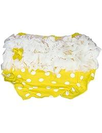 Culotte Bloomer Couvre-couche en Dentelle Blanche Prop Photographie pour Bébé Fille Taille S - Jaune à Pois