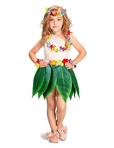 Fortuning's JDS Jungen Mädchen hawaiisch Blumen Blatt Grasrock Girlande Kostüm-Set Partei Bevorzugungen (5Pcs)