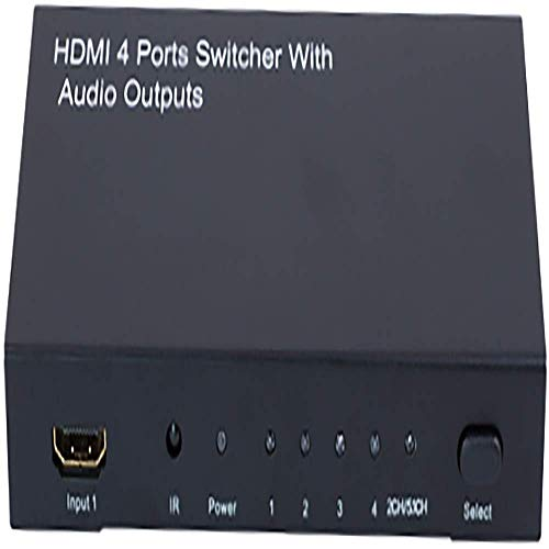 Cablematic Amplified HDMI Selector mit Digital Audio (4 IN > 1 + AUDIO) - Hdmi Component Selector