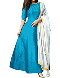 Marvadi Collections Girls' Tafeta Silk Anarkali Salwar Suit Set (Sky - Dress_Sky_Free Size)